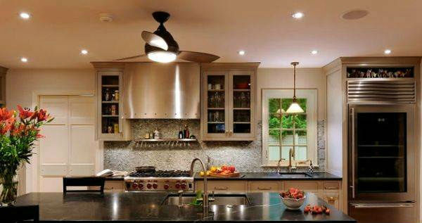 ceiling-fan-light-above-fascinating-kitchen-island-with-black-marble-countertop-complement-a-marvelous-kitchen-interior-outfitted-with-glass-door-refrigerator